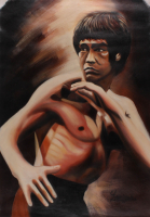 "Longyun Bruce Lee ""Enter the Dragon"" 23x34 Original Oil Painting on Linen (PA LOA) at PristineAuction.com"