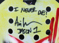 """Ari Lehman Signed """"Friday the 13th"""" Mask Inscribed """"I Never Die!"""" & """"Jason 1"""" (Beckett COA) at PristineAuction.com"""