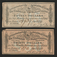 Lot of (2) Confederate States of America Richmond CSA Bank Note Bonds with (1) 1867 $15 Fifteen-Dollar Note & (1) 1876 $30 Thirty-Dollar Note at PristineAuction.com