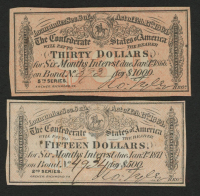 Lot of (2) Confederate States of America Richmond CSA Bank Note Bonds with (1) 1871 $15 Fifteen-Dollar Note & (1) 1866 $30 Thirty-Dollar Note at PristineAuction.com