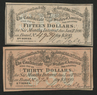 Lot of (2) Confederate States of America Richmond CSA Bank Note Bonds with (1) 1890 $15 Fifteen-Dollar Note & (1) 1872 $30 Thirty-Dollar Note at PristineAuction.com