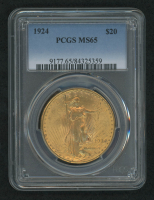 1924 $20 Twenty-Dollar Saint Gaudens Gold Coin (PCGS MS65) at PristineAuction.com