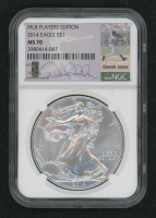 2014 $1 Silver American Eagle Coin with a Derek Jeter Facsimilie Signature (NGC MS70) at PristineAuction.com