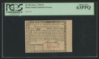 1780 Rhode Island $2 Two Dollar Colonial Currency Note - July 2nd, 1780 (PCGS Choice New 63PPQ) at PristineAuction.com