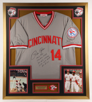 Pete Rose Signed Reds 32x36 Custom Framed Jersey Display with (5) Career Stat Inscriptions (JSA COA) at PristineAuction.com