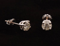14kt White Gold Diamond Solitair Stud Earrings at PristineAuction.com