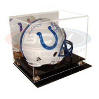 Deluxe Acrylic Full-Size Helmet Display Case Black Base at PristineAuction.com