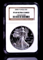 2000-P American Silver Eagle $1 One Dollar Coin (NGC PF 69 Ultra Cameo) at PristineAuction.com