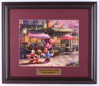 "Thomas Kinkade Walt Disney's ""Mickey & Minnie Mouse In Paris"" 16x18.5 Custom Framed Print Display at PristineAuction.com"
