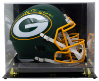 """Aaron Rodgers Signed Packers Full-Size AMP Alternate Speed Helmet Inscribed """"Go Packs Go!"""" with High-Quality Display Case (Fanatics Hologram) at PristineAuction.com"""