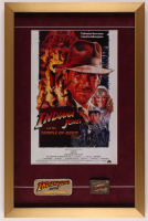 """Indiana Jones & The Temple Of Doom"" 17x26 Custom Framed Poster Print with Vintage Patch & Brass Emblem at PristineAuction.com"