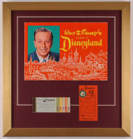 "Walt Disney's ""Disneyland"" 17.5x18.5 Custom Framed 1963 Original Guide Display with Vintage Ticket Booklet & Parking Pass at PristineAuction.com"
