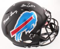 Marv Levy & Andre Reed Signed Bills Full-Size Matte Black Speed Hemet (Beckett COA) at PristineAuction.com
