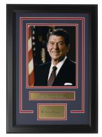 Ronald Reagan 14x18 Custom Framed Photo Display at PristineAuction.com