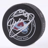 Joe Sakic Signed Avalanche Logo Hockey Puck (Beckett COA) at PristineAuction.com