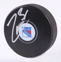 Mats Zuccarello Signed Rangers Logo Hockey Puck (Beckett COA) at PristineAuction.com