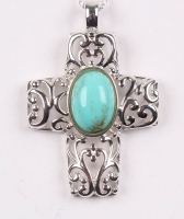 Sterling Silver Turquoise Cross Filigree Pendant at PristineAuction.com