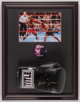 Mike Tyson Signed 17.5x22.5 Custom Framed Boxing Glove Display with Original Fight Pin (JSA COA) at PristineAuction.com