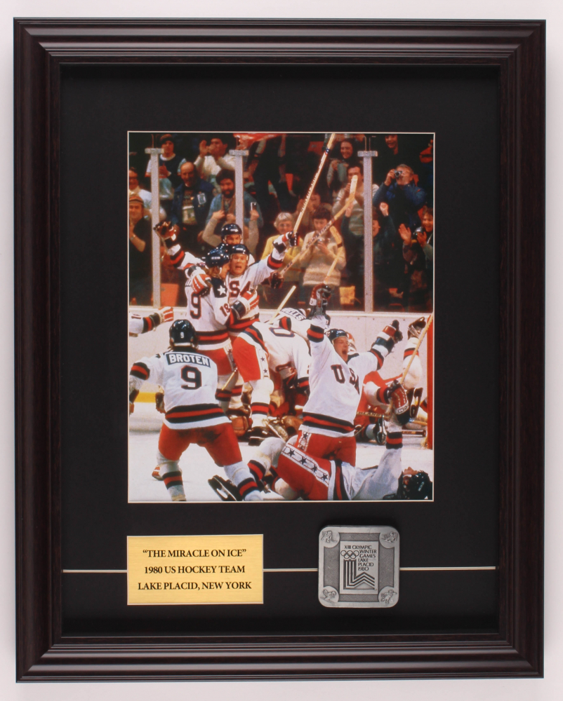 1980 Miracle on Ice 16x20 Custom Framed Photo Display with Large Lake Placid Olympics All Pewter Emblem at PristineAuction.com