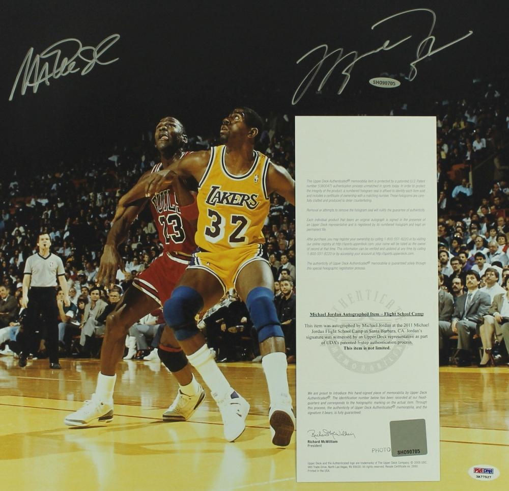 1fc00912db2f Michael Jordan   Magic Johnson Signed 16x20 Photo (PSA   UDA COA) at  PristineAuction