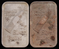 """Lot of (2) 1 Troy Ounce .999 Fine Silver """"Silver Bullet"""" Bullion Bars at PristineAuction.com"""