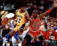 Magic Johnson Signed Lakers 8x10 Photo with Michael Jordan (Beckett COA) at PristineAuction.com