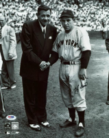 Yogi Berra Signed Yankees 11x14 Photo with Babe Ruth (PSA COA) at PristineAuction.com