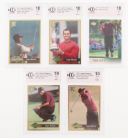 Lot of (5) BCCG Graded 10 Tiger Woods Golf Cards with (1) 2001 Upper Deck #1 Tiger Woods RC & (4) 2001 Legends Volume 13 Issue 112 with #NNO On The Green, #NNO Swinging / Red Shirt,  #NNO 2000 U.S. & #NNO Claret Jug at PristineAuction.com
