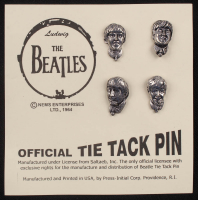 """Set of (4) Vintage """"The Beatles"""" Pewter Tie Tac Pins On Card at PristineAuction.com"""