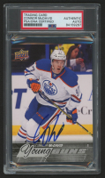Connor McDavid Signed 2015-16 Upper Deck Oversized #201 Young Guns (PSA Encapsulated) at PristineAuction.com