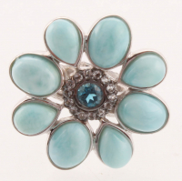 Sterling Silver Larimar & Topaz Flower Ring - SZ 7 at PristineAuction.com