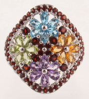 Silver 6.80ctw Multi Gemstone Flower Ring - SZ 7 at PristineAuction.com