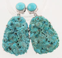 Sterling Silver Carved Turquoise Drop Earrings at PristineAuction.com