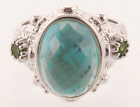 Silver Turquoise Doublet & Chrome Ring - SZ 7 at PristineAuction.com