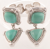 Silver Cushion & Trillion Turquoise Drop Earrings at PristineAuction.com