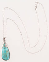 Sterling Silver Turquoise Pear Shaped Pendant at PristineAuction.com