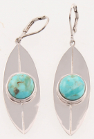 Sterling Silver Turquoise Elongated Leaf Earrings at PristineAuction.com