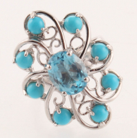 Silver 3.42ct Blue Topaz & Turquoise Ring - SZ 7 at PristineAuction.com