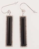 Silver Black Agate & White Topaz Linear Earrings at PristineAuction.com
