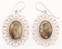 Sterling Silver Oval Labradorite Drop Earrings at PristineAuction.com