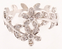 Silver Tone Cubic Zirconia Flower Ring - 8 at PristineAuction.com