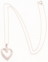 Silver Tone Cubic Zirconia Heart Pendant at PristineAuction.com