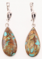 Sterling Silver Teal Mohave Turquoise Earrings at PristineAuction.com