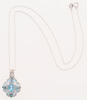 Sterling Silver 3.14ctw Multi Blue Topaz Pendant at PristineAuction.com