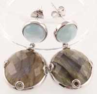Silver Milky Aquamarine & Labradorite Drop Earring at PristineAuction.com