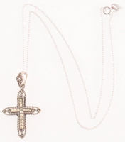 Sterling Silver Marcasite Cross Pendant at PristineAuction.com
