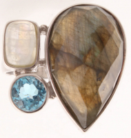 Sterling Silver Labradorite & Gemstones Ring - SZ 7 at PristineAuction.com