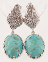 Sterling Silver Turquoise Leaf Drop Earrings at PristineAuction.com