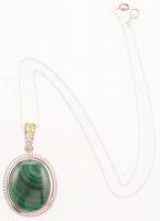 Sterling Silver Oval Malachite & Peridot Pendant at PristineAuction.com