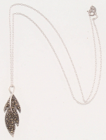 Sterling Silver Marcasite Dimensional Leaf Pendant at PristineAuction.com